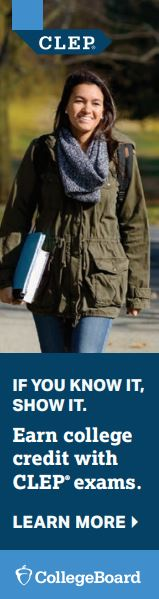 girl wearing a coat, carrying a book, CLEP, If you know it, show it, earn college credit with CLEP exams, Learn More