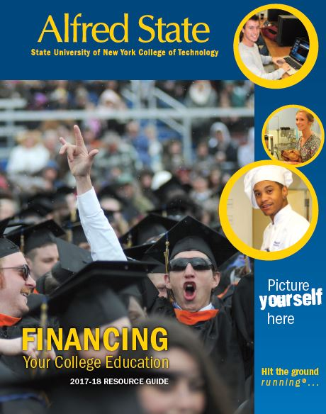 cover of financial aid resource guide, student at commencement with arms in air, Alfred State, hit the ground running, picture yourself here