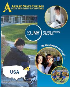 cover of international brochure with students smiling