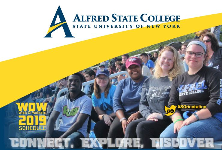 cover of week of welcome schedule student sitting in stadium