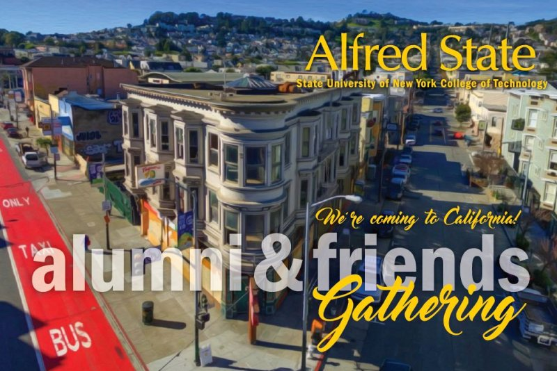 San Francisco Invitation, Alfred State, alumni & friends gathering, we're coming to California