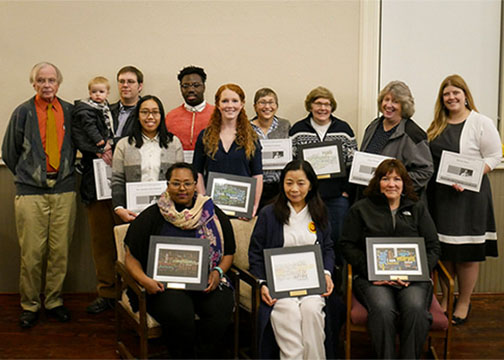 The recipients of the Alfred Community Spirit of Service Award gathered for a picture