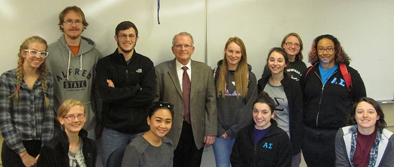Joseph Damrath with students in the Honors Program