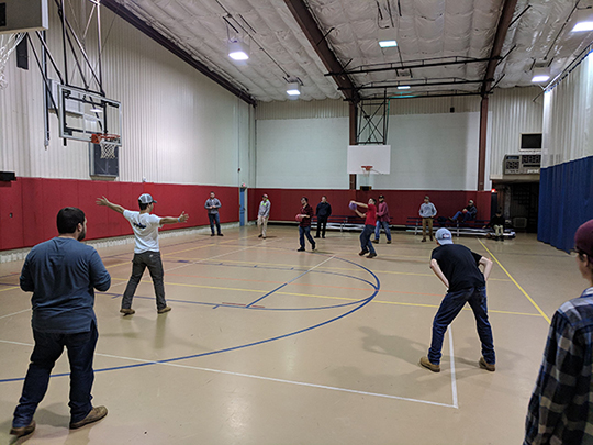 students playing dodgeball in the Pioneer Student Union