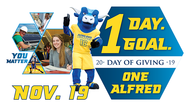 one day. one goal. day of giving 2019. one alfred. nov. 19. you matter. images of students and mascot.