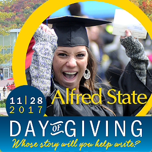 student in a commencement cap and gown, 11-28-17, Day of Giving, Whose story will you help write?
