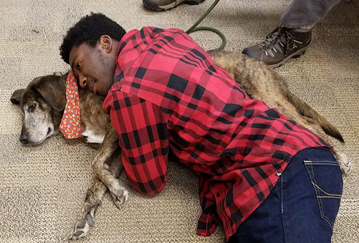 male student laying on top of a dog on the floor
