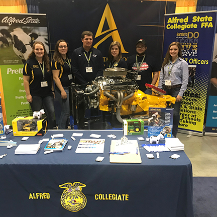 Pictured at the Alfred State booth at the 91st annual National FFA Convention and Expo, from left to right, are students Rebecca Struzynski, Elizabeth Jurs, Jacob Steward, Marissa Folts, Alan Goda, and CaraAnn Dean.