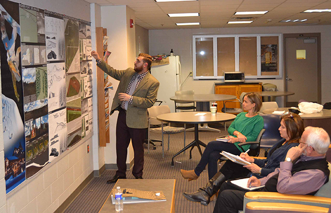 architecture students present course work to industry