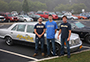 members of the 2015 Alfred State Fireball Run team, along with the 1987 Mercedes 300 SDL they will be driving in the event