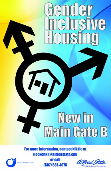 Gender Inclusive Housing poster with contact Nikkie at phone 607-587-4076