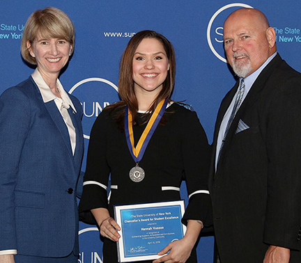 SUNY Chancellor Kristina M. Johnson, left, Hannah Vuozzo, middle, President Dr. Skip Sullivan, right