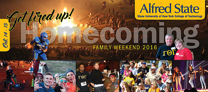 homecoming/family weekend '16 invitation, bonfire, 5k racers, students dancing