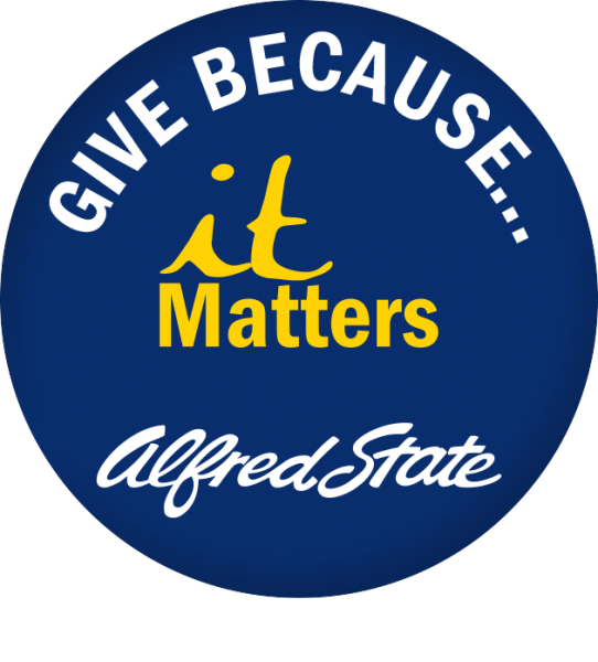 "An image that says ""give because... it matters"". Alfred State logo"
