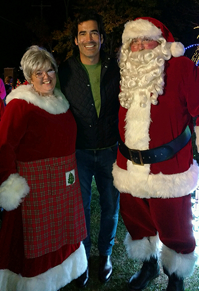 "left to right, are Melissa Nickerson, ""The Great Christmas Light Fight"" co-host Carter Oosterhouse, and Jon Nickerson, who works at Alfred State as a project manager/architectural engineering designer."