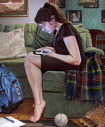 painting of a girl on a couch reading her iPad