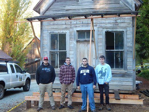 students standing in front of Carter Residence at Malakoff Diggins State Historic Park