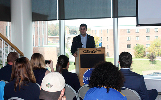 Marc Cohen, president of the SUNY Student Assembly, speaks at Alfred State about the importance of the Maintenance of Effort bill.
