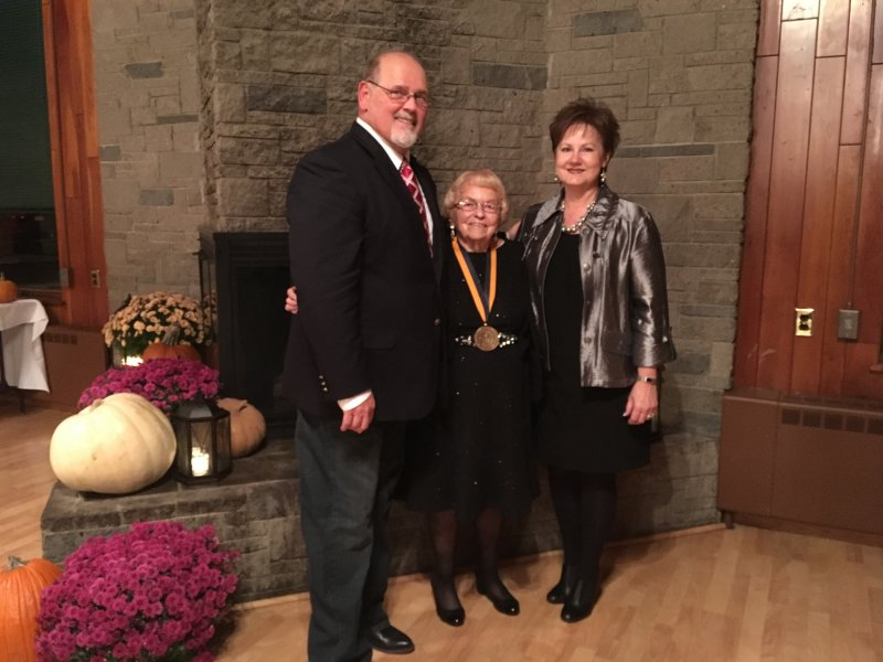 Mary Huntington received the Alfred State President's Medallion