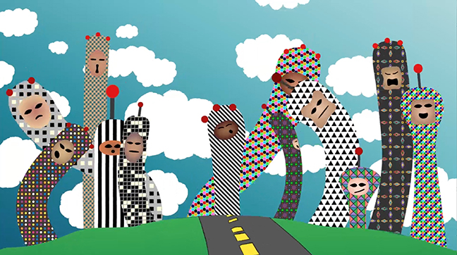 example of digital media, blue sky, road, and figures with faces
