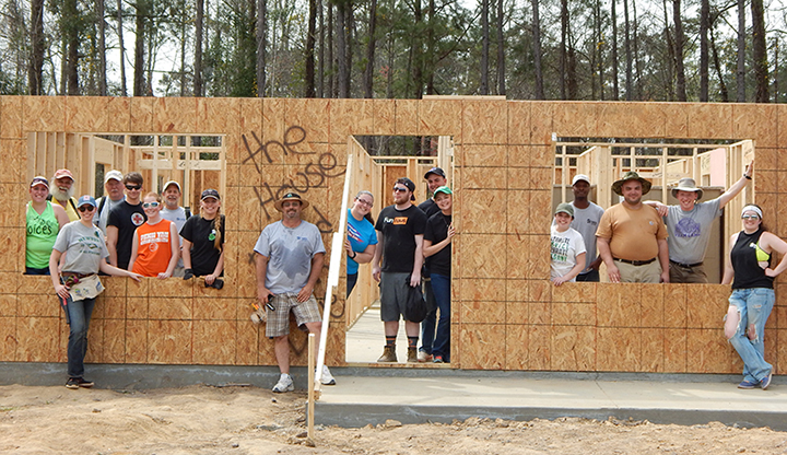 Alfred State volunteers who worked with the Horry County Habitat for Humanity to build a house for a resident in Myrtle Beach, SC.
