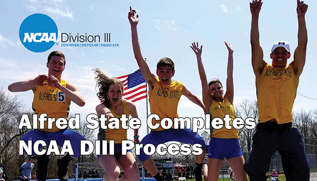 students jumping in air, Alfred State completes NCAAIII process