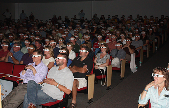 Alfred State employees view the 3-D video