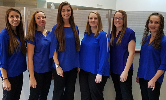 left to right are members of Alfred State's pre-construction team Lindsey Thiel (Liverpool), Ashley Battley (Seneca Falls), Carina Scalise (Baldwinsville) Cassie LoPiccolo (Auburn), Logan Wheeler (Copenhagen), and Hannah Stoddard (Tully). All team members are construction management majors.