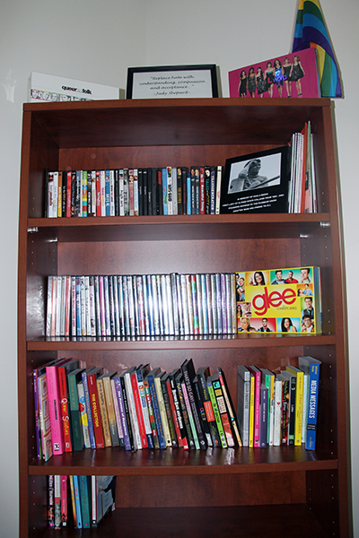book shelf filled with dvd and books referenced in text on this page