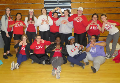 sisters of Delta Chi Omega at the Relay for Life event