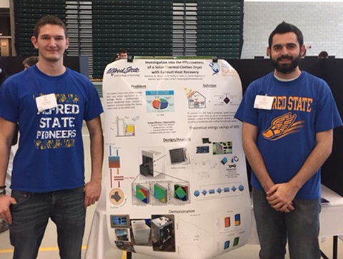 MET students with their solar-thermal clothing dryer prototype