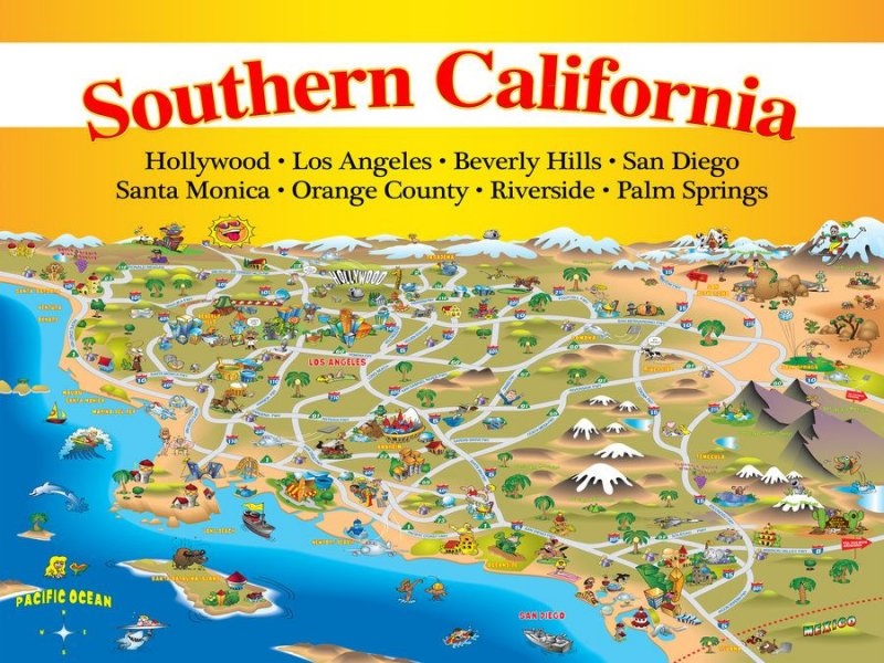 cartoon map Southern California, names of cities
