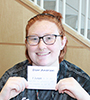 Kassie Buffham, a forensic science technology major from West Monroe holds up a postcard expressing her dream for a better future