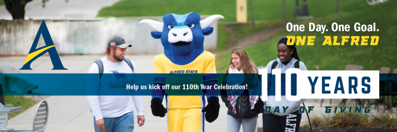 students walking up campus with campus, help us kick off our 110th year