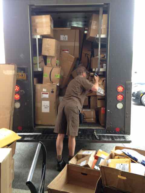 Picture of UPS truck loaded with hundreds of student packages