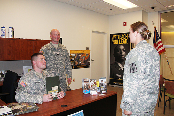 students in the Veterans' Resource Center