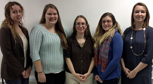 Adelaide Matteson; Stacy Duink, of Hamburg, a senior Bachelor of Architecture major and WINS Club president; Shanley Keenan MacCrea; Elizabeth Parker, of Campbell, a senior Bachelor of Architecture major and WINS Club treasurer; and Heather Rogers Landis.