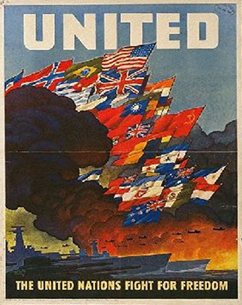 "World War II-era poster that says ""united""  united nations fight for freedom"