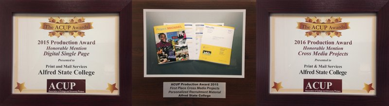 Pictures of framed '15 & '16 honorable mention printing awards given to Print & Mail Services by ACUP
