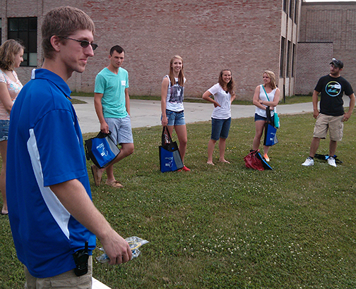 students in ice breakers at orientation