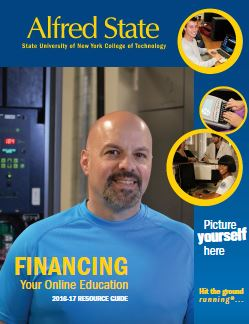 financing your online education brochure, man on the cover, Alfred State, picture yourself here