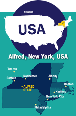 Country and New York state map with Alfred marked