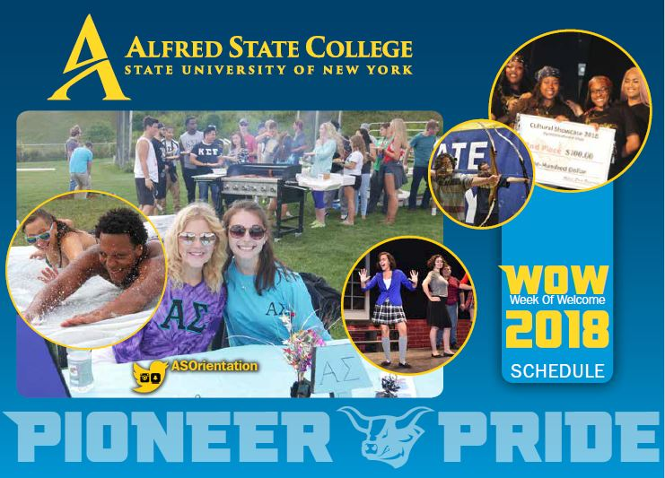 Pioneer Pride, front cover of week of welcome brochure, many students smiling, at picnic