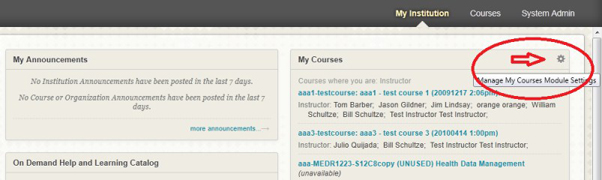 screen shot from Blackboard how to remove a course