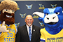 President Skip with Orvis and Ox mascots