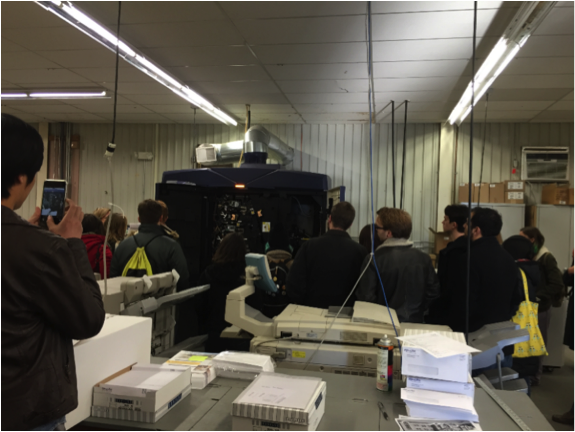 Photo of students touring Printing & Mailing Servces