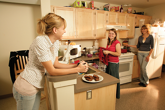students in a Townhouse kitchen