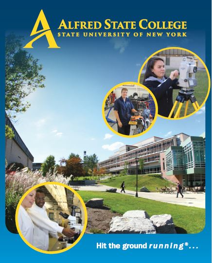 viewbook cover, students walking up campus on sidewalk, Alfred State, hit the ground running, picture yourself here