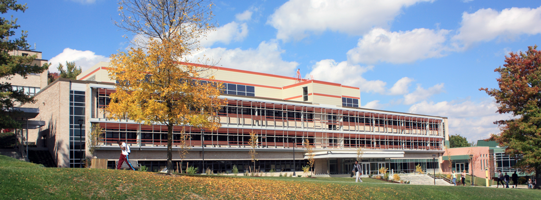 Physical and Health Sciences building in the fall