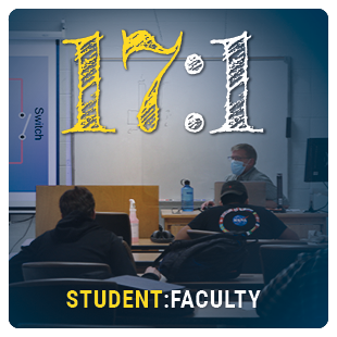 Student to faculty ratio 18:1, view inside a classroom
